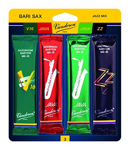 Vandoren SRMIXB3 Bari Sax Jazz Reed Mix Card includes 1 each ZZ, V16 JAVA and JAVA Red Strength 3