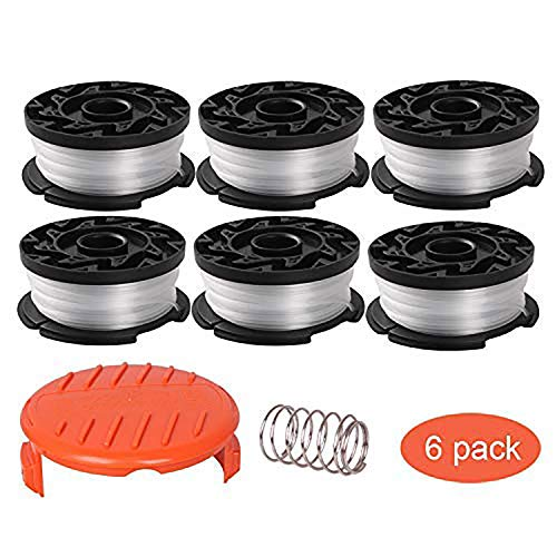 Thten String Trimmer Spool Replacement for Black and Decker AF-100, 30ft 0.065' Refills Line Auto Feed Single Weed Eater,GH600 GH900 Edger with RC-100-P Spool Cap Covers (6 Spools, 1 Cap,1 Spring)