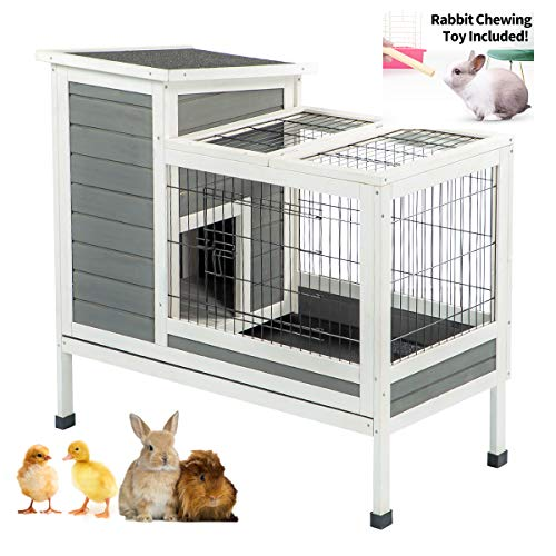U-MAX Rabbit Hutch Pet House for Small Animals Puniea Pig House Rabbit Cage Bunny House Indoor & Outdoor No Leak Trays 38' L x 19.7' W x 33.9' H