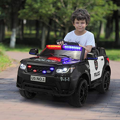 TOBBI 12V Kids Ride On Toys Police Car Electric with Remote Control, Real Megaphone Siren Flashing Light Horn, Black …
