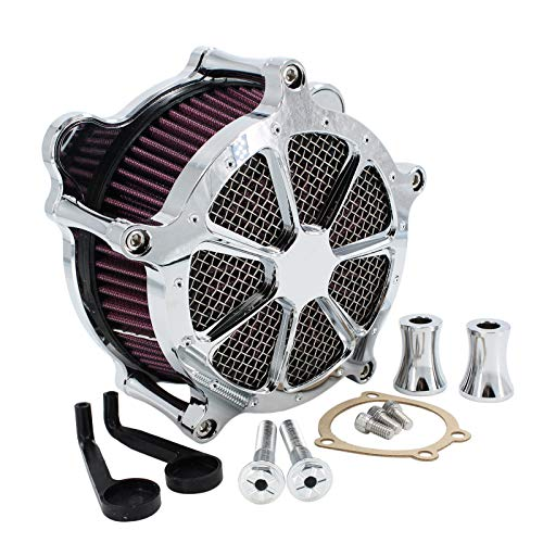 Air Cleaner Intake Filter System Kit Contrast Cut for Touring Road King Electra Glide Road Glide Street Glide 93-2007 Softail Dyna FXR (Chrome)