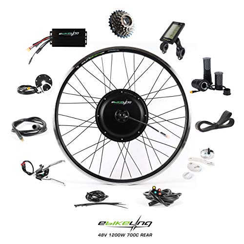 EBIKELING 48V 1200W 700C Direct Drive Rear Waterproof Electric Bicycle Conversion Kit (Rear/LCD/Twist)