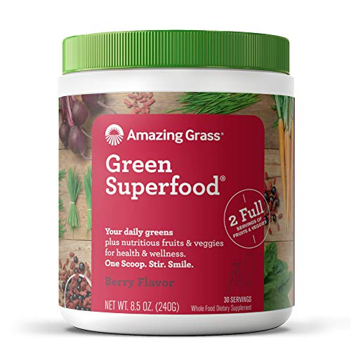 Amazing Grass Green Superfood: Super Greens Powder with Spirulina, Chlorella, Digestive Enzymes & Probiotics, Berry, 30 Servings