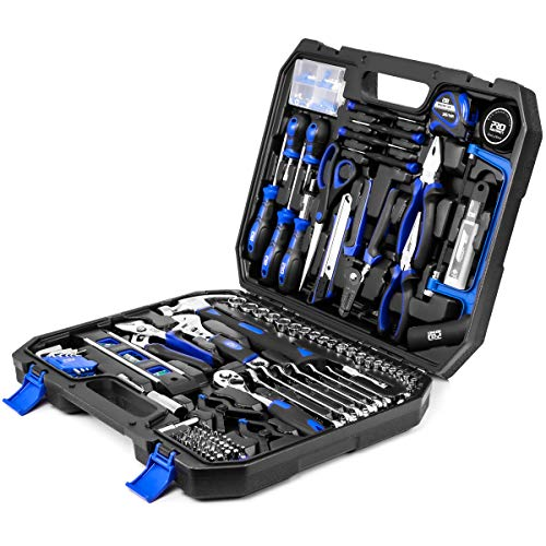 210-Piece Household Tool Kit, PROSTORMER General Home/Auto Repair Tool Set with Hammer, Pliers, Screwdriver Set, Wrench Socket Kit and Toolbox Storage Case - Perfect for Homeowner, Diyer, Handyman