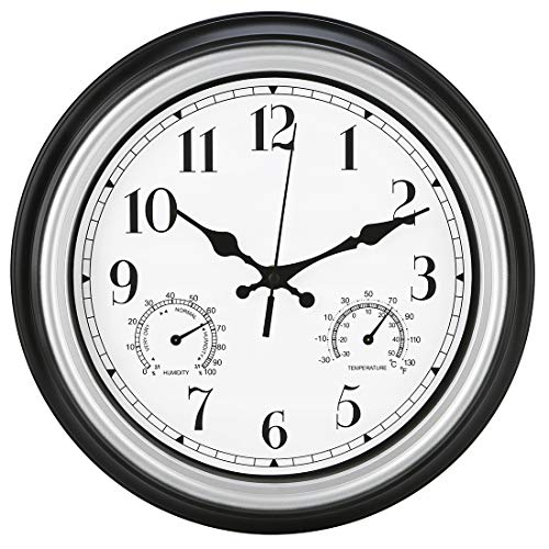 Amotpo Indoor/Outdoor Wall Clock,12-Inch Waterproof Clock with Thermometer and Hygrometer Combo,Battery Operated Quality Quartz Round Clock,Silver