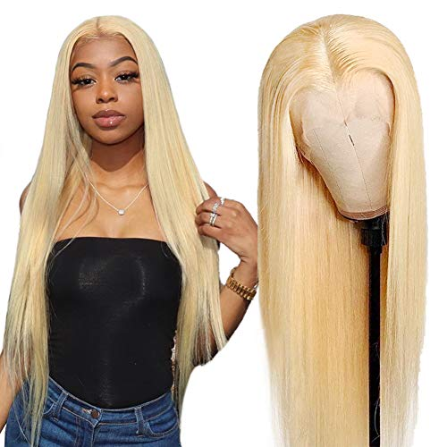 Allove 613 Blonde Lace Front Wig Human Hair Pre Plucked Bleached Knots 24inch T Part Straight Lace Front Wigs with Baby Hair Natural Hairline 10a Middle Part Brazilian Human Hair Wigs for Black Women