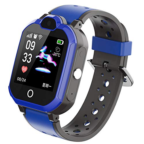 TBidder Kids Smart Phone Watch Support 4G with Bluetooth GPS Video Call HD Touch Screen Waterproof for Girls Boys Android iOS (Blue)