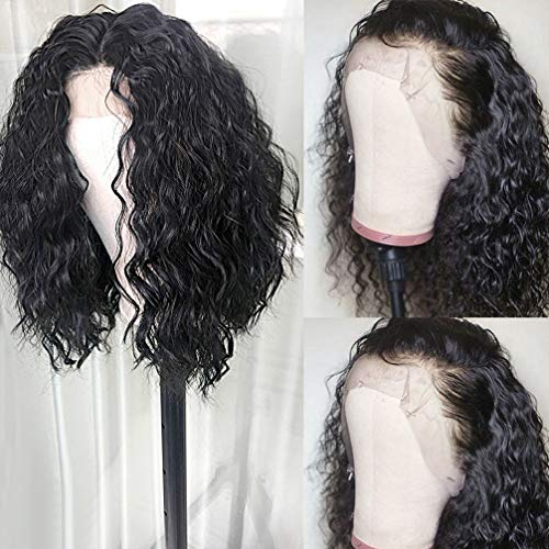 Lace Front Wigs Loose Curly with Baby Hair Short Bob Curly Natural Sythetic Lace Front Wig Natural Hairline Heat Resistant Fiber Black Wig for Women (14 inch)
