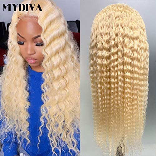 MYDIVA Glueless 613 Lace Front Wigs Peruvian Deep Wave Human Hair Wig For Women Deep Curly Blonde Transparent Lace Frontal Wigs Pre Plucked with Baby Hair 150 Density (20 inches, 13x4 deep wave)