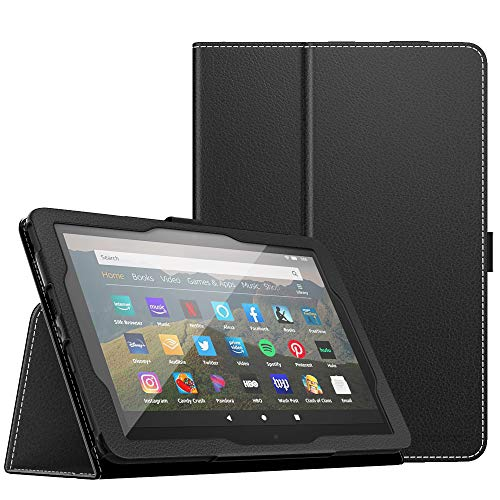 MoKo Case Compatible with All-New Kindle Fire HD 8 Tablet and Fire HD 8 Plus Tablet (10th Generation, 2020 Release),Slim Folding Stand Cover with Auto Wake/Sleep - Black