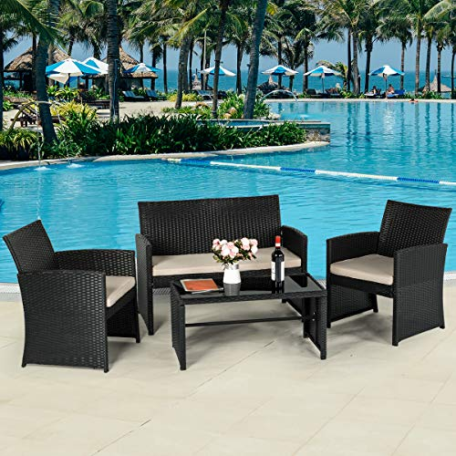 AECOJOY 4-Piece Wicker Outdoor Patio Furniture Sets Rattan Patio Conversation Furniture Sets Wicker Chair Set with Cushion for Porch Garden Poolside with Coffee Table, Black