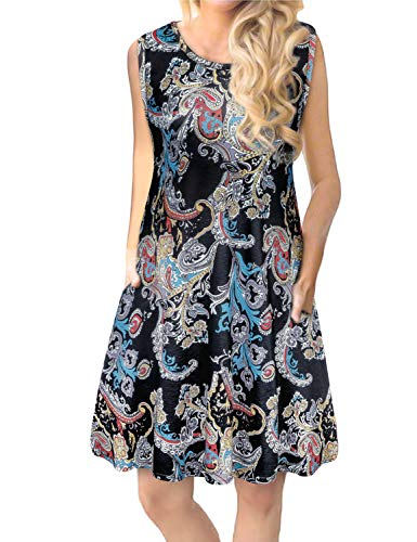 Sundresses for Women,Tanst Ladies Clothing Summer Office Wear Dress Casual Round Neck Sleeveless Knee Length Dresses with Pockets Trapeze Dress Pattern Flower Black XL Size 18