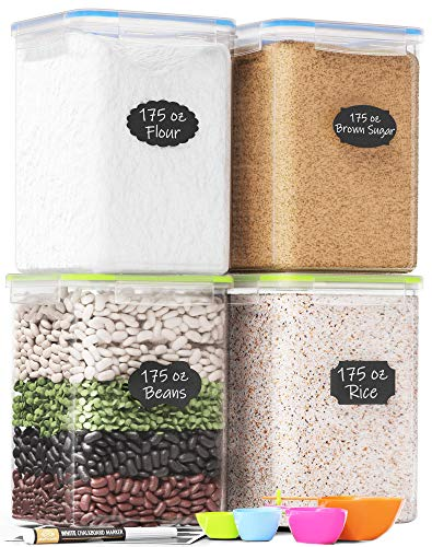 Extra Large Tall Food Storage Containers 175oz, For Flour & Sugar - Airtight Kitchen & Pantry Organization Bulk Food Storage, BPA-Free - 4 PC Set - Canisters with Scoops, Pen & Labels - Chef's Path