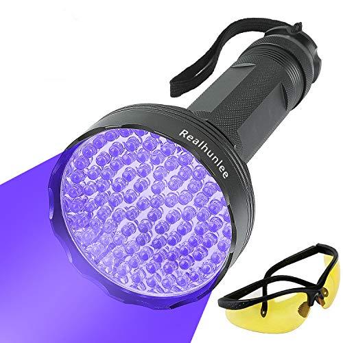 UV Black Light Flashlight, Super Bright 100 LED #1 Best Pet Dog Cat Urine Detector light Flashlight for Pet Urine Stains, UV Blacklight Flashlight with UV Sunglasses for Bed Bugs Scorpions, Home Hotel
