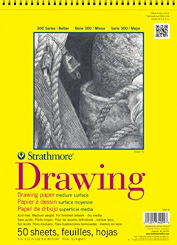 Strathmore 300 Series Drawing Pad, Medium Surface, 11'x14', Wire Bound, 50 Sheets