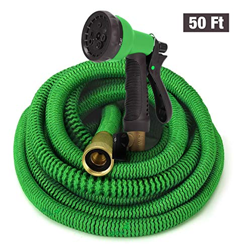 GrowGreen Hoses, Expandable Garden Hose, Water Hose with High Pressure Hose Spray Nozzle, Flexible Garden Hose with All Brass Connectors, Leak Proof,and Durable Expanding Garden Hose (50 Feet)