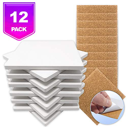 Ceramic Tiles for Crafts Coasters,12 Ceramic White Tiles Unglazed 4x4 with Cork Backing Pads, Use with Alcohol Ink or Acrylic Pouring, DIY Make Your Own Coasters, Mosaics, Painting Projects, Decoupage
