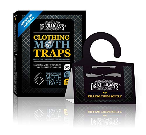 Dr. Killigan's Premium Clothing Moth Traps with Pheromones Prime | Non-Toxic Clothes Moth Trap with Lure for Closets & Carpet | Moth Treatment & Prevention | Case Making & Web Spinning (Black)