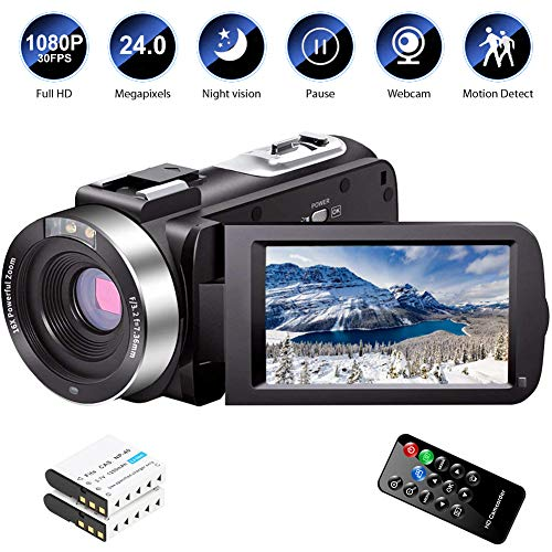 Video Camera Camcorder Full HD 1080P 30FPS 24.0 MP IR Night Vision Vlogging Camera Recorder 3.0 Inch IPS Screen 16X Zoom Camcorders YouTube Camera Remote Control with 2 Batteries