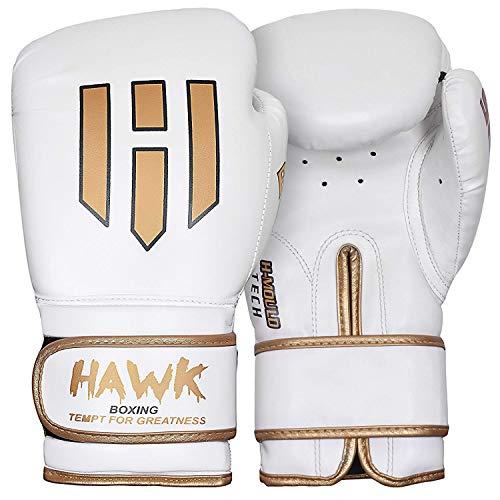 Hawk Boxing Gloves for Men & Women Training Fighting Punching Heavy Bag Mitts UFC MMA Muay Thai Sparring Kickboxing Gloves, White 10oz