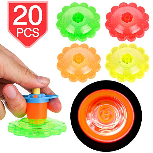 PROLOSO 20 Pcs Light Up Spinning Tops Flashing Gyro LED Gyro Fidget Spiral Twister Toys Bulk Toys Glow in The Dark Party Favors