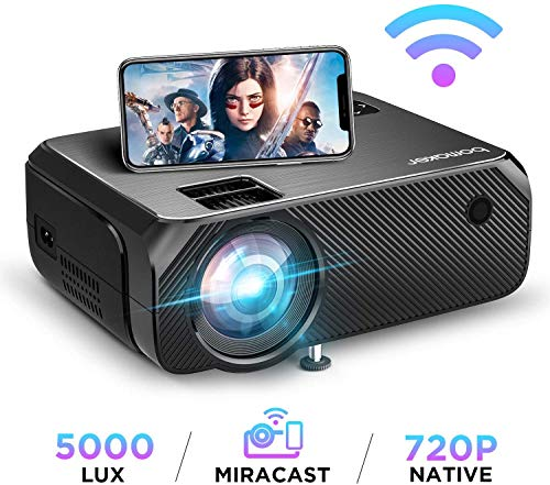 Wi-Fi Mini Projector, Upgraded 5000 Lux, Bomaker Portable Outdoor Movie Projector, Full HD 1080P Supported, Wireless Screen Mirroring and Miracast, for iOS /Android /Laptops / PCs/Windows / Samsung