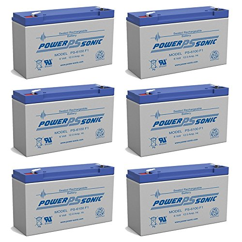 Power Sonic PS-6100 6V 12AH F1 Rechargeable Battery - 6 Pack
