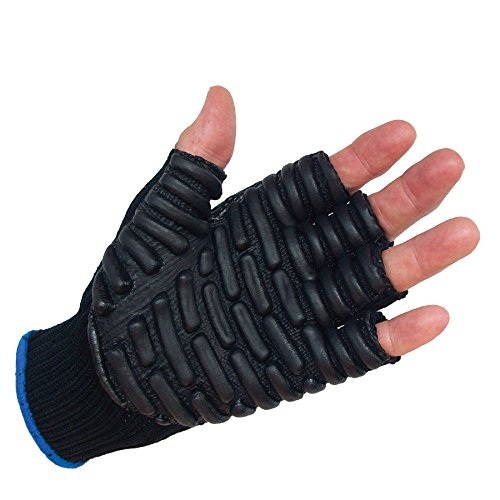 IMPACTO BLACKMAXX Touch L 1/2FINGER Anti-Vibration Glove Blue