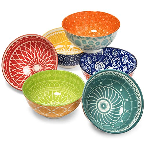 Annovero Dessert Bowls  Set of 6 Small Porcelain Bowls for Snacks, Rice, Condiments, Side Dishes, or Ice Cream, 4.75 Inch Diameter, 10 Fluid Ounce (1.25 Cup) Capacity
