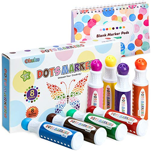 Dot Markers Kit, Ohuhu 8 Colors Paint Marker (40 ml, 1.41 oz.) with a Blank 30 Pages Marker Pad, Water-Based Non-Toxic Bingo Daubers for Kids Children (3 Ages +), Dot Art Markers Back to School Art