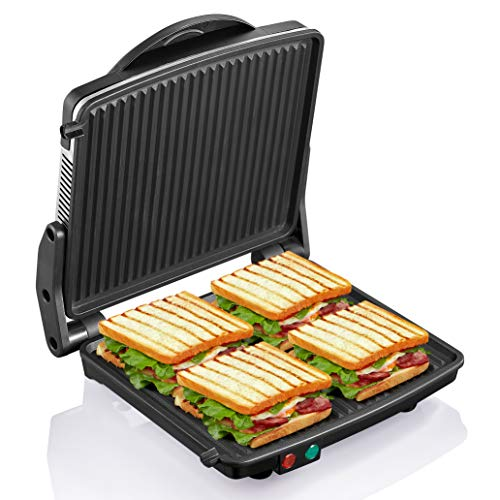 Panini Press Grill, Yabano Gourmet Sandwich Maker Non-Stick Coated Plates 11' x 9.8', Opens 180 Degrees to Fit Any Type or Size of Food, Stainless Steel Surface and Removable Drip Tray, 4 Slice