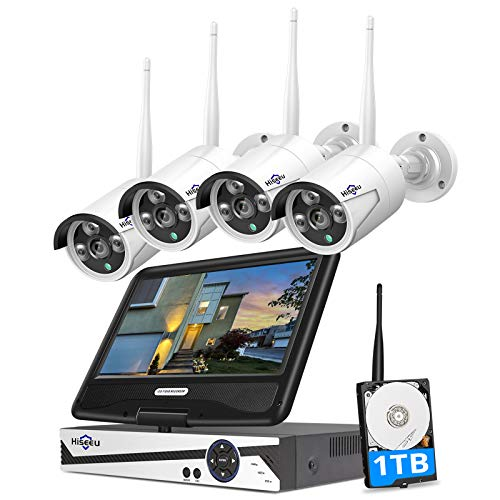 [8CH Expandable] Hiseeu All in one with 10.1' Monitor Wireless Security Camera System,8ch Wireless Home Security Camera System,4pcs 1080P Indoor/Outdoor Security Camera,Remote View,1TB Hard Drive