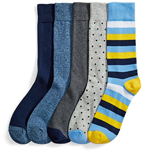 Amazon Brand - Goodthreads Men's 5-Pack Patterned Socks, Assorted Blue/Yellow/Grey, One Size