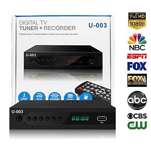 Analog to Digital TV Converters Box - UBISHENG U-003 for Analog HDTV 1080P ATSC Converter with TV Tuner, EPG, PVR Recording, Playback, Multimedia Player, Timer Setting, LED Display, Set-Top Box