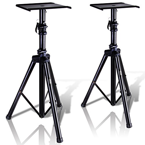 """Pyle Dual Studio Monitor 2 Speaker Stand Mount Kit - Heavy Duty Tripod Pair and Adjustable Height from 34.0"""" to 53.0"""" w/ Metal Platform Base - Easy Mobility Safety PIN for Structural Stability PSTND32"""
