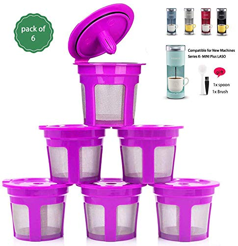 Reusable Coffee Filter Replacement for Keurig K MINI PLUS Refillable K Cupsules 2.0 1.0 Small Coffee Pod Single Reuable Coffee Capsules (Purple/6)
