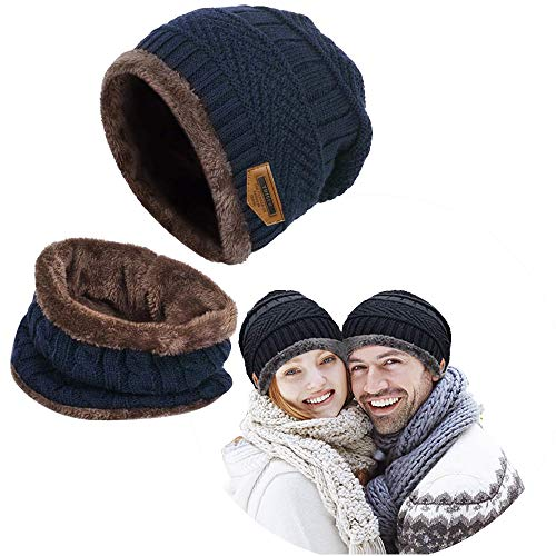 Winter Men Beanie Hat Scarf Set for Women Warm Knit Hats Skull Cap with Thick Fleece Lined