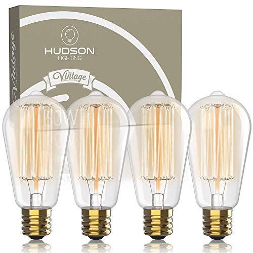Vintage Incandescent Edison Light Bulbs: 60 Watt, 2100K Warm White Lightbulbs - E26 Base - 230 Lumens - Clear Glass - Dimmable Antique Filament ST64 Light Bulb Set - 4 Pack