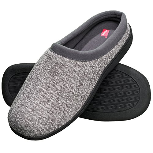 Hanes Men's Memory Foam Indoor Outdoor Clog Slipper Shoe with Fresh IQ, Grey, LG
