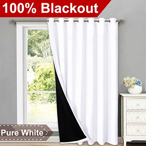 NICETOWN Full Shading Curtains for Patio Door, Super Heavy-Duty Thermal Backing Sliding Glass Door Drape, Privacy Assured Window Treatment(1 Panel, 100 inches W x 84 inches L, Pure White)