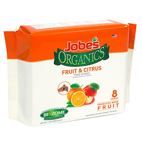 Jobes Organics Fruit & Citrus Tree Fertilizer Spikes, 4-6-6 Time Release Fertilizer for All In-ground Citrus and Fruit Trees, 8 Spikes per Package