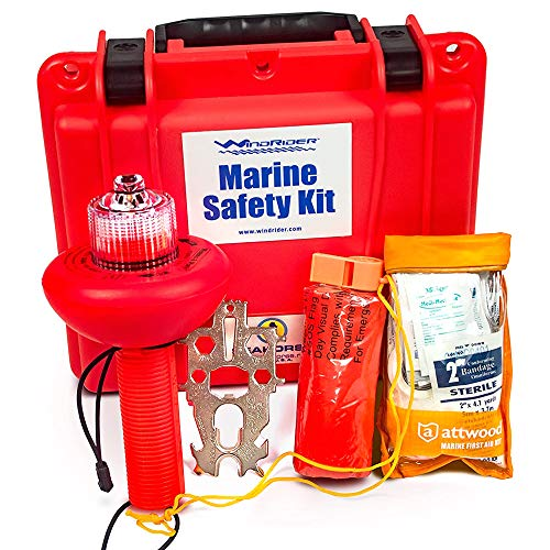 USCG Boating Safety Kit - Electronic Flare - First Aid Kit - Whistle - Multi Tool - Waterproof Case (Plastic)