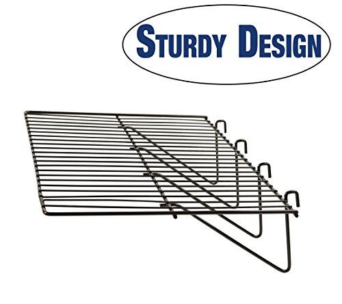 Grid Panel Display Shelf - Econoco - Clothing Display Rack Grid, Heavy Duty Shelves, 12'D x 23-1/2'L Straight Shelf for Grid Panel, Black Finish, Wire, (Box of 6)