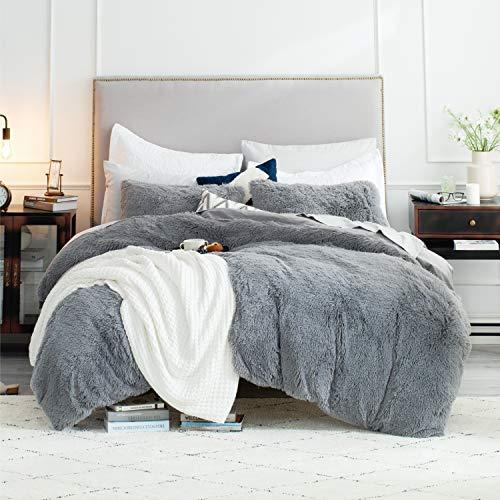 Bedsure Fluffy Duvet Cover Set Full/Queen Size (90x90 Inches) - Luxury Ultra Soft Plush Shaggy Queen Duvet Cover - Fluffy Comforter Bed Sets 3 Pieces (1 Duvet Cover + 2 Pillow Shams), Grey