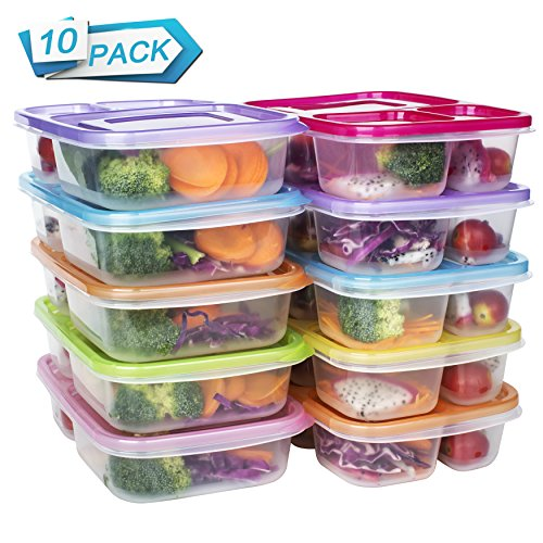 Meal Prep Containers 3 Compartment Food Storage Reusable Plastic Bento Microwavable Lunch Boxes with Lids BPA-Free 10-Pack,Stackable Dishwasher & Freezer Safe,Portion Control,32oz