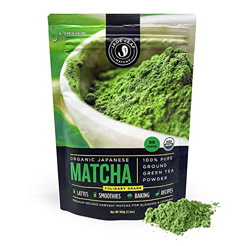 Jade Leaf Matcha Green Tea Powder - Organic, Authentic Japanese Origin - Culinary Grade - Premium 2nd Harvest [3.5oz]