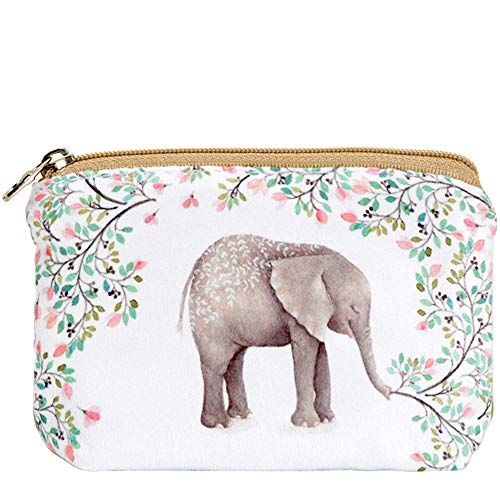 Women and Girls Cute Fashion Coin Purse Wallet Bag Change Pouch Key Holder (Forest Elephant)