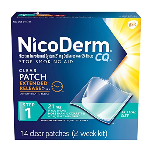 NicoDerm CQ Step 1 Nicotine Patches to Quit Smoking - Stop Smoking Aid, 14 Count