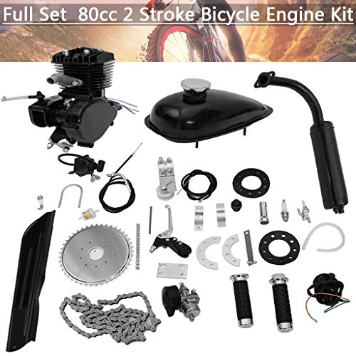 Ziloco Full Set 80cc Bicycle Engine kit, 2 Stroke Motorized Bike Petrol Gas Engine Kit, Turn Your Pedal Bike Into an Electric Bike (Black)