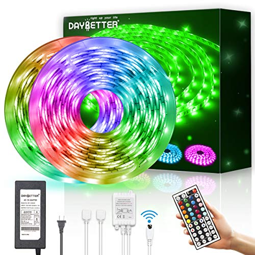 DAYBETTER Led Strip Lights Waterproof 600leds 32.8ft 10m Flexible Color Change RGB SMD 5050 with 44 Keys IR Remote Controller and 12V Power Supply for bedroomHome, Bedroom, Kitchen DIY Decoration
